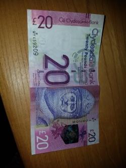 Outra nota de 20 libras escocesa, essa impressa por outro banco